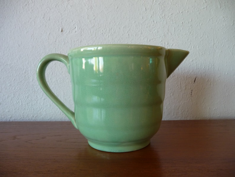 Bauer Pottery Batter Bowl or Pitcher Green Ceramic Pottery Mid image 0