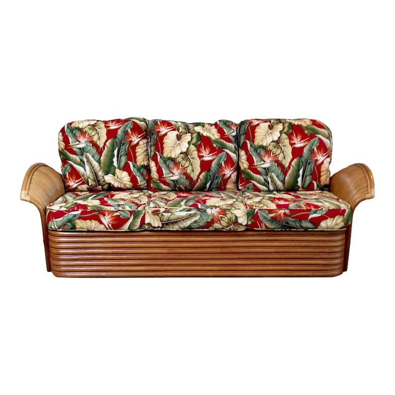 Mid Century Modern Tiki Hawaiian Rattan Sofa by King's image 0