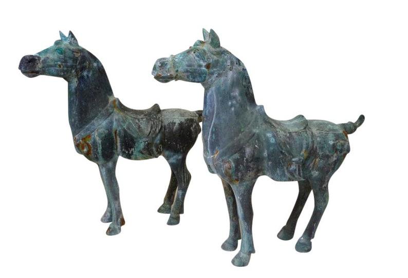 Pair of Bronze Patina Asian Horse Sculptures Hollywood Regency image 0