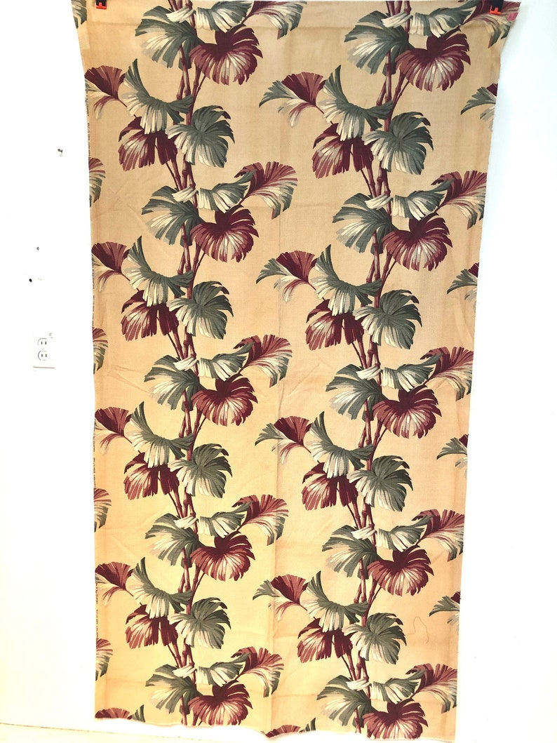 Vintage 1940's Barkcloth Fabric Tropical Foliage Print image 0