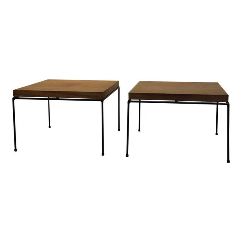 Rare Paul McCobb Iron Rod Directional Modern Line Side Tables image 0