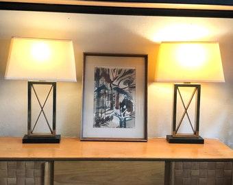 Regency-Style Lamps, Modern Brass X Lamps on Black Base - Pair
