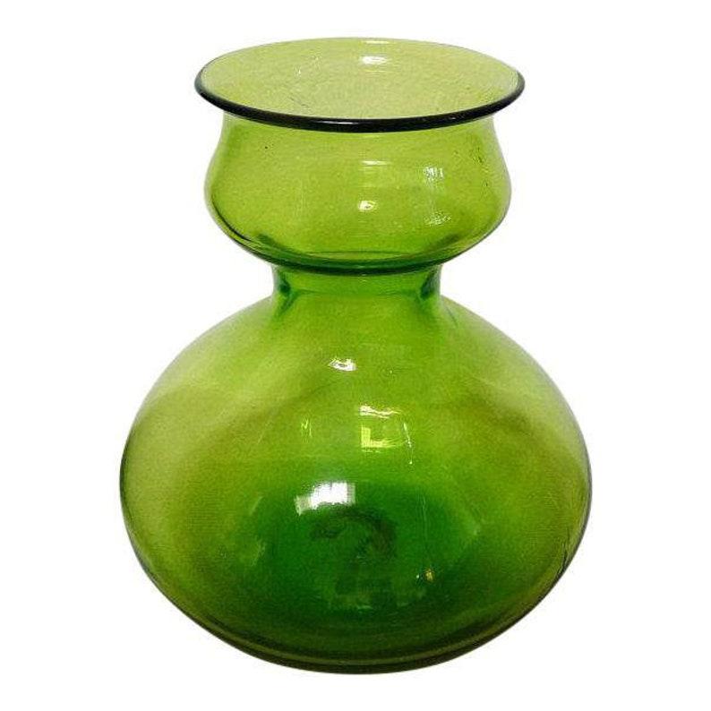 Mid-Century Bischoff Olive Green Vase Bottle Vintage Art Glass image 0