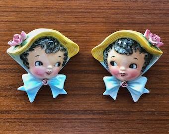 Lefton Miss Dainty Rose Bonnet Wall Pocket Duo  Vintage Ceramic - set of 2 pieces