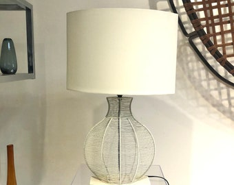 Vintage White Wire Table Lamp