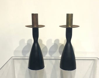 Pair of Danish Wood and Metal Candle Holders
