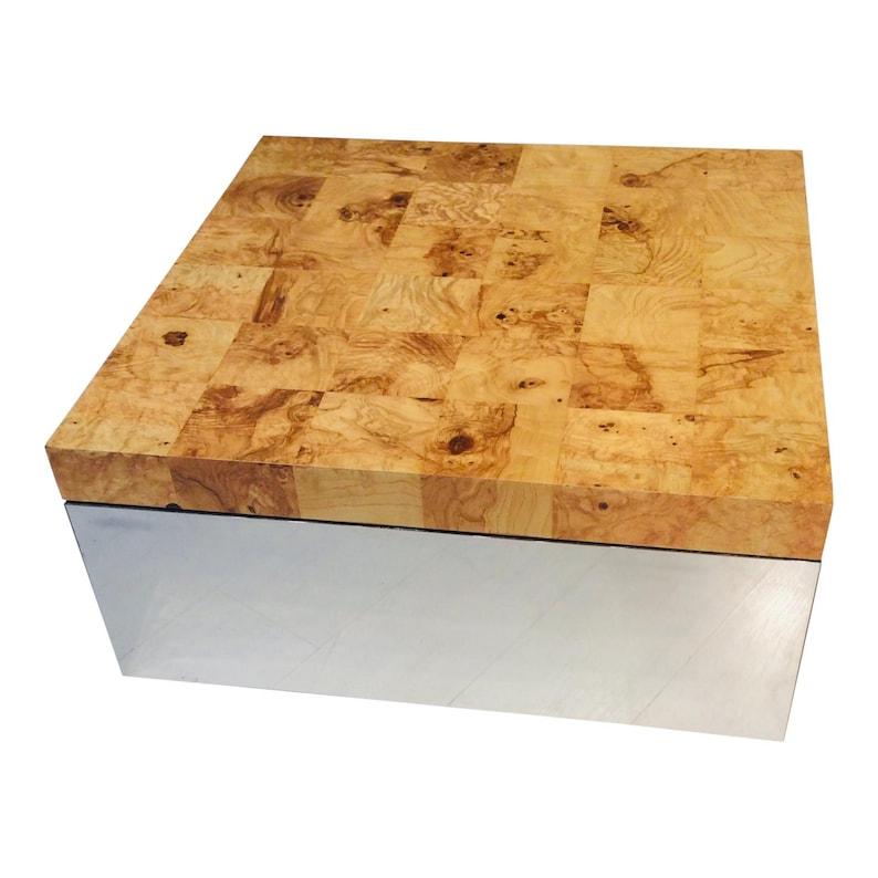Mid-Century Modern Burl Wood & Mirror Chrome Cube Coffee Table image 0