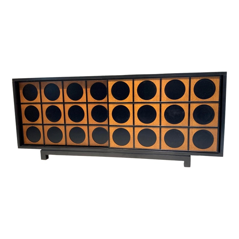Mid Century Modern Style Black and Wood Tone Cabinet image 0