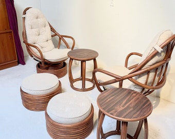 Vintage Steamed Rattan Leisure Set with Cushions - 6 pieces