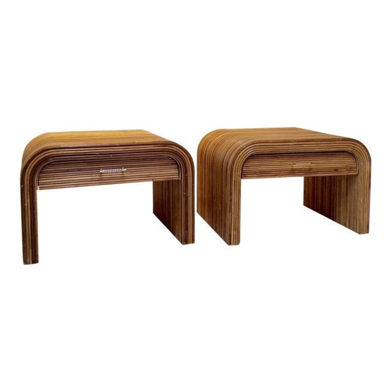 Mid-Century Modern Pencil Reed Ratan Side Tables Nightstands  image 0
