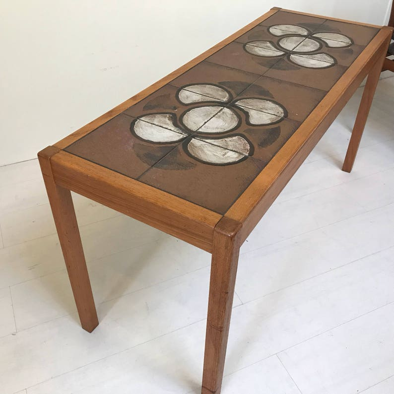 Danish modern Consol table with inlaid tiles image 0