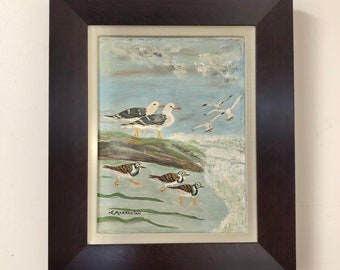 Original Seagull Bird Oil Painting, signed by artist