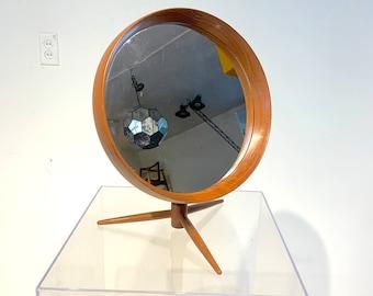 RARE Danish Teak Flip-Top Swivel Vanity Mirror by Pedersen & Hansen