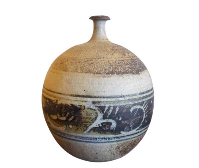 Signed Mark Hines '66 Vase Mid Century Modern Stoneware image 0