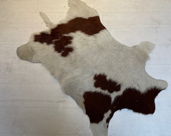 Cowhide Rugs Brown and White, Vintage Mid Century Accent Rug