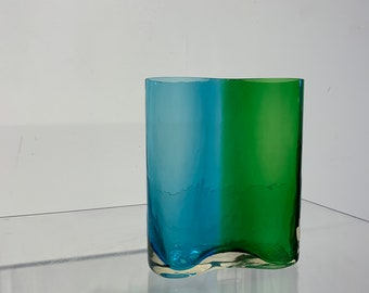 Southern Living Wave Art Glass Vase in Blue Green Mid Century Modern
