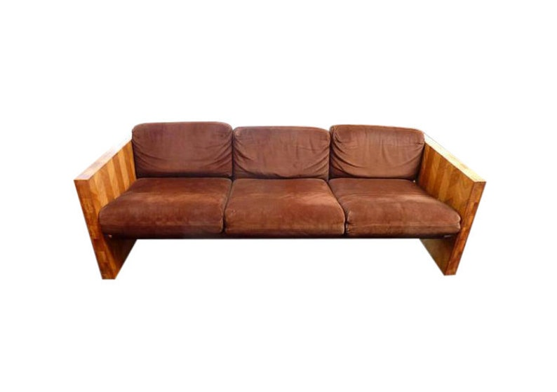 Vintage 70s Sofa with Brown Suede and Butcher Block Mid image 0