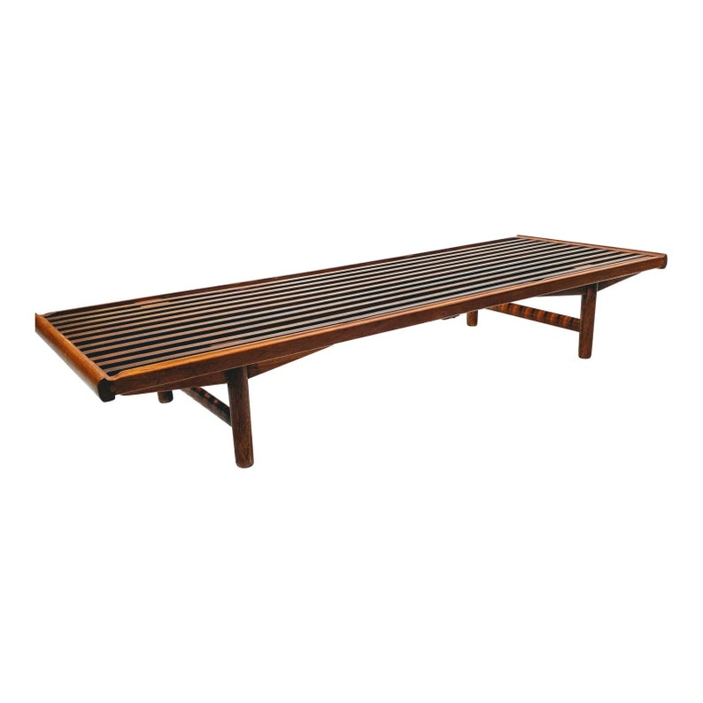 Mid Century Modern Wood Slat Coffee Table Low Bench image 0