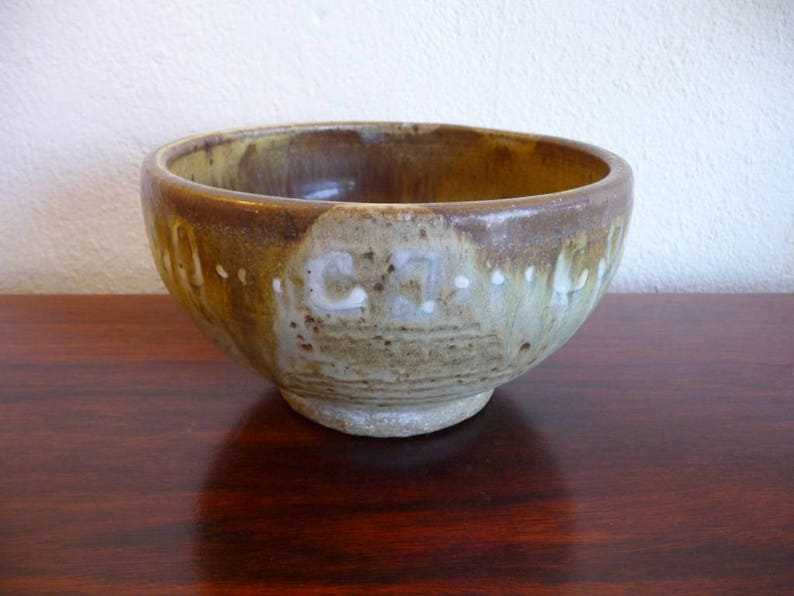 Mid Century Pot in Green and Brown Lava Glaze image 0