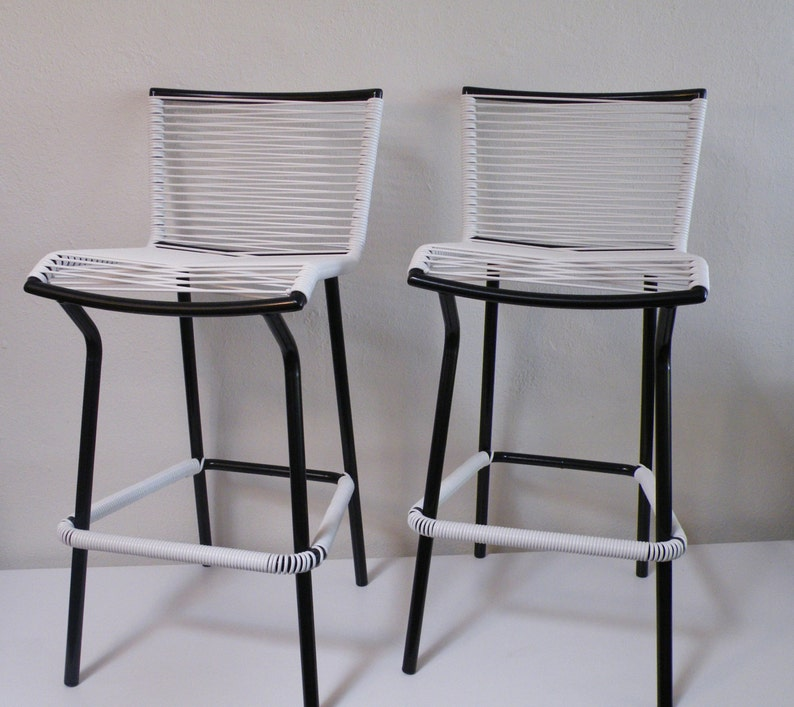 Tropitone Corded Bar Stools Black and White Pair image 0