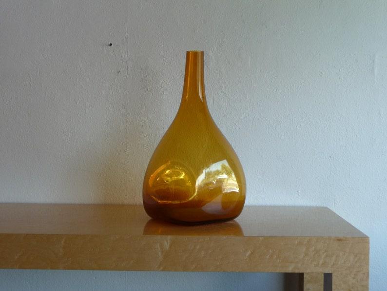 Golden Brown Vase Large Art Glass Handmade Handblown Mid image 0