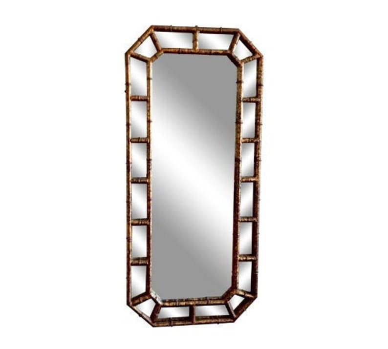 Mid Century Modern Faux Bamboo Mirror Made in Italy Hollywood image 0