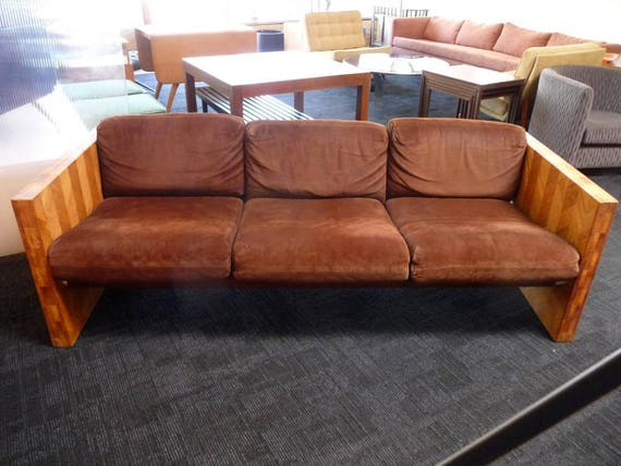 Fine Vintage 70S Sofa With Brown Suede And Butcher Block Mid Century Modern Theyellowbook Wood Chair Design Ideas Theyellowbookinfo