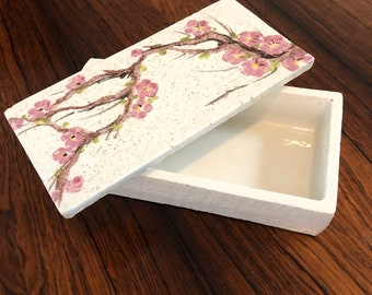 Bitossi Italian Pottery Box with Cherry Blossom Design - Mid-Century