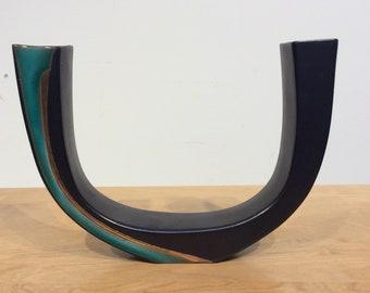 Double Flower Vase with Sculptural U Design , Mid Century Modern