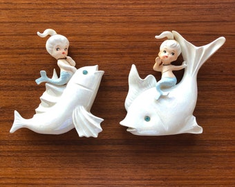 Norcrest Mermaids Vintage Sister Girl Ceramic Wall Plaques - set of 2 pieces