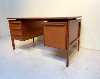 Danish Modern Teak Desk with File Drawer Mid Century Modern
