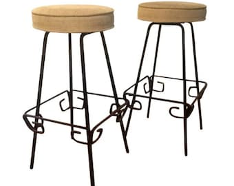 Pair of Swivel Bar Stools by Herb Ritts , Mid Century Modern