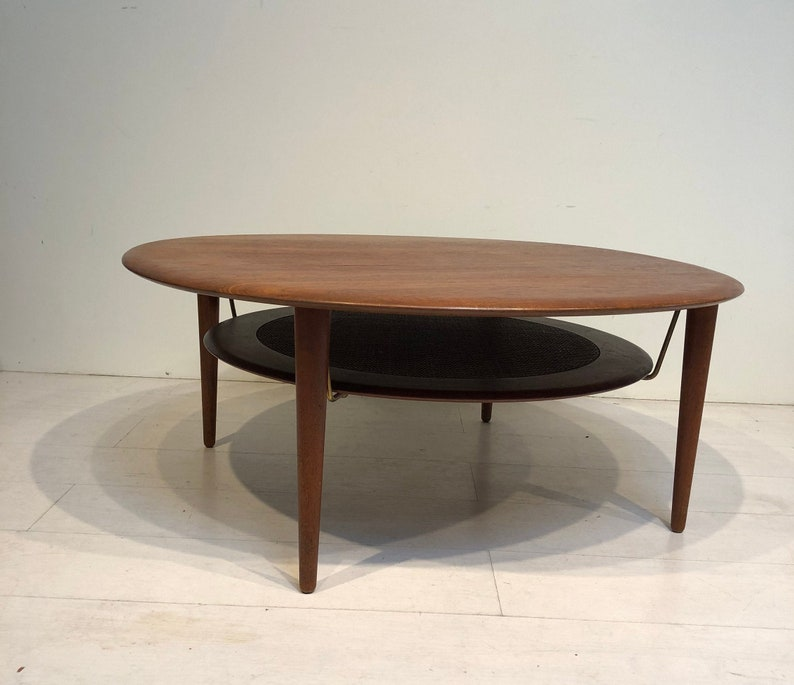 Mid Century Modern Round Teak & Cane Coffee Table by Peter image 0