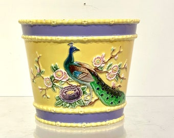 Vintage Eichwald Majolica Pottery Flower Pot featuring Peacock and Flowers design
