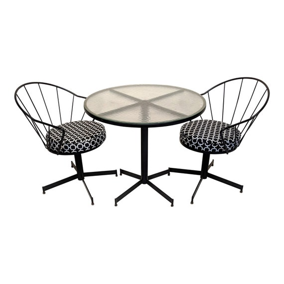 Mid Century Modern Bistro Set In The Style Of Thinline Patio Etsy
