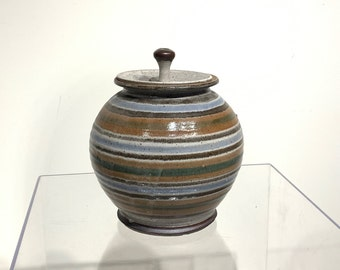 Mid Century Pottery Lidded Jar with Stripes