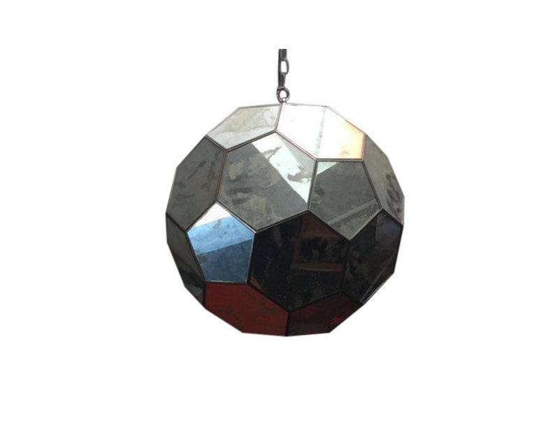 Mid Century Mirrored Hexagon Hanging Lamp image 0