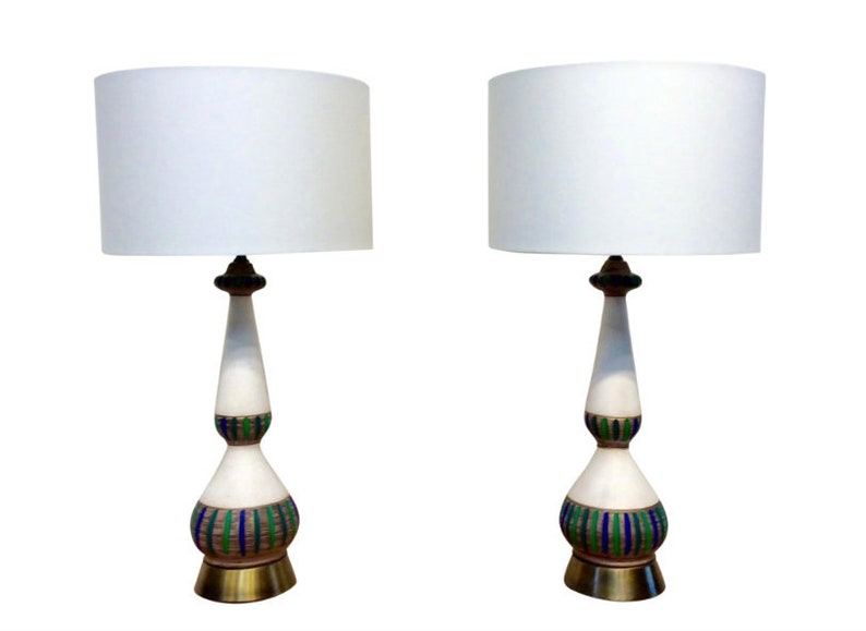 Mid-Century Modern Hand Painted Lamps  A Set image 0