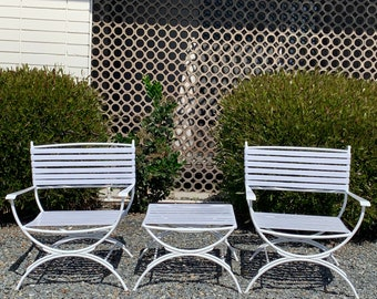 Keller Scroll Hialeah Outdoor Patio Furniture Set of Two Lounge Chairs and Ottoman , Vintage Mid Century