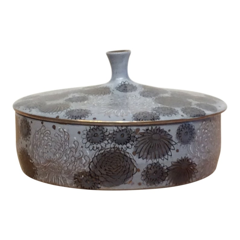Vintage Japanese Ceramic Lidded Bowl with Chrysanthemum image 0
