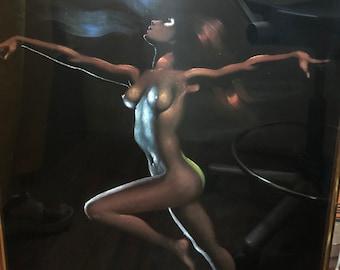 Original Black Velvet Painting Standing Nude after Tyree Framed, 34x23
