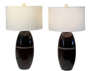 Pair of Brown Ceramic Lamps  1970s style