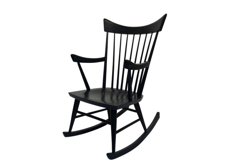 Mid-Century Modern Black Rocking Chair in the Style of Edmond image 0