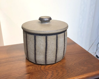 Mid Century Pottery Lidded Jar in Speckle Glaze