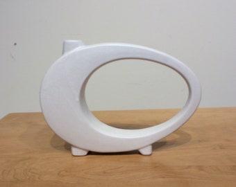 Vintage White Flower Vase with Sculptural Design Mid Century Modern