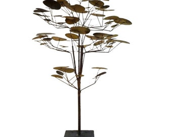 Brutalist Torch Cut Metal 1960's Tree Sculpture in the style of Curtis Jere Raindrops Vintage Mid Century