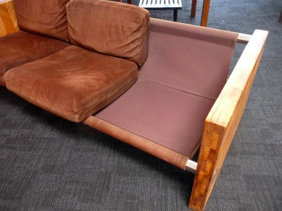 Pleasant Vintage 70S Sofa With Brown Suede And Butcher Block Mid Century Modern Theyellowbook Wood Chair Design Ideas Theyellowbookinfo