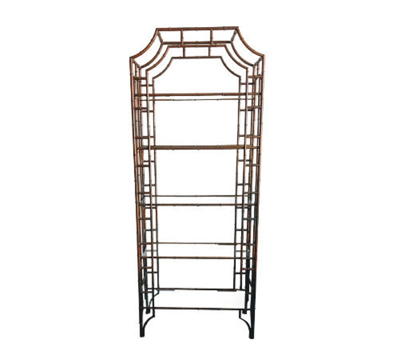 Italian Hollywood Regency Metal Faux Bamboo Etagere Shelving image 0