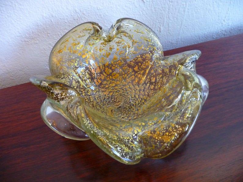 Murano Handblown Glass Bowl Mid Century Modern Art Glass image 0