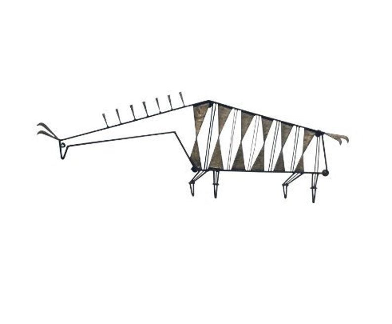 Mid-Century Modern Metal Llama Wall Sculpture image 0